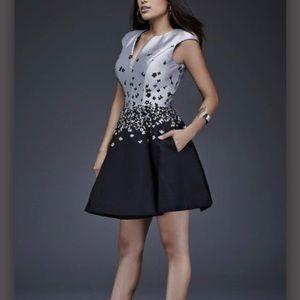 Maslavi by Jovani M372 Two-Tone A-Line Dress